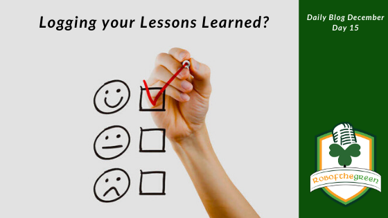 Logging your Lessons Learned – Day 15